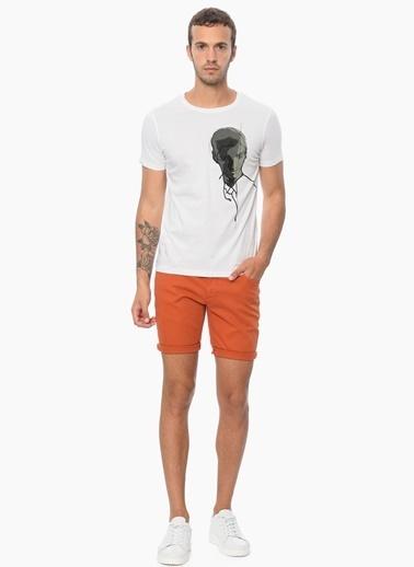 Que Slim Fit Bisiklet Yaka Baskılı Tişört Beyaz
